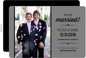 Grey and Black Striped Formal Gay Wedding Announcement Magnet