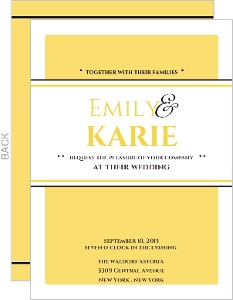 Classic Pale Yellow Same Sex Wedding Invitation