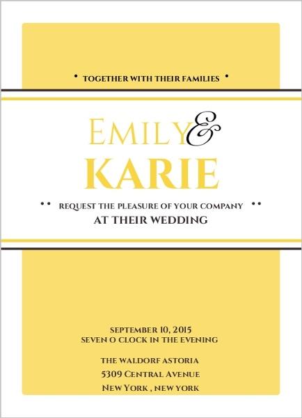 classic pale yellow same sex wedding invitation - Same Sex Wedding Invitations