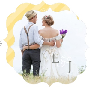 Yellow Stripe Circle Wedding announcement