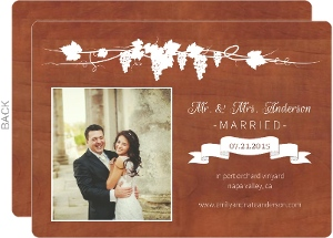 Rustic Medium Wood Grain Wedding Announcement