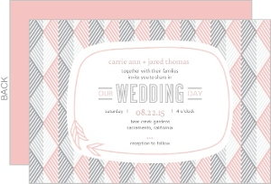 Modern Pink Geometric Pattern Wedding Invitation