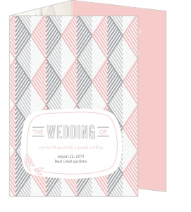 Modern Pink Geometric Pattern Wedding Program