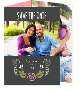 Floral Monogram Bouquet Save The Date Announcement
