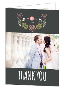 Floral Monogram Bouquet Wedding Thank You Card