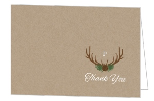 Rustic Woodland Antlers Wedding Thank You Card