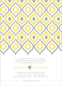 Yellow Ikat Pattern Wedding Invitation