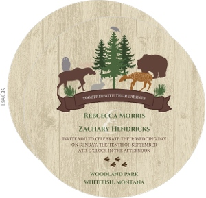 Woodland Animals Woodgrain Wedding Invitation