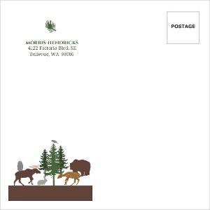 Woodland Animals Woodgrain Custom Envelope