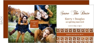 Geometric Rustic Copper Pattern Save The Date Announcement