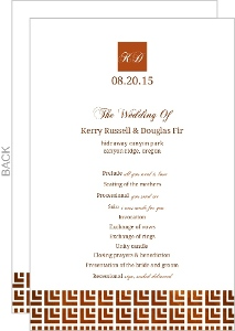 Geometric Rustic Copper Pattern Wedding Program