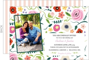 Whimsical Floral Garden Wedding Invitation