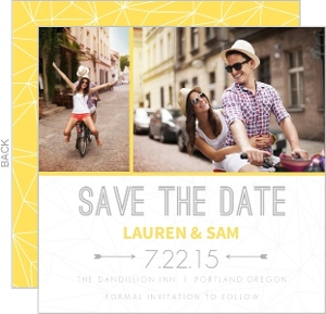 Lemon and Gray Triangular Modern Save The Date