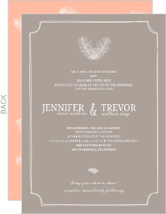 Gray Brown Feathered Modern Wedding Invitation