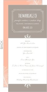 Gray Brown Feathered Modern Wedding Program