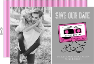 Retro Pink Mixed Tape Save The Date