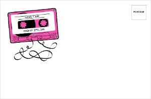 Retro Pink Mixed Tape Custom Envelope