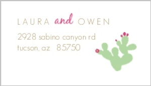 Pink Green Cacti Address Label