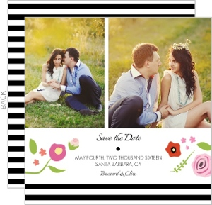 Flowers and Black Stripes Save the Date