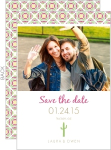 Pink and Green Cacti Save the Date
