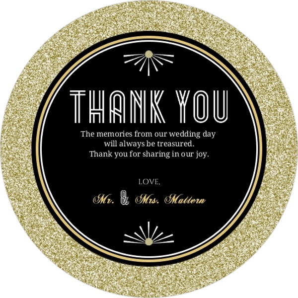 Gold Glitter 1920s Vintage Wedding Thank You Card – Order Wedding Thank You Cards