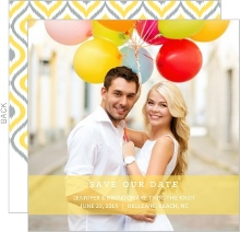Yellow Ikat Pattern Save The Date Announcement