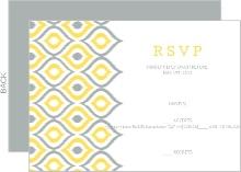 Yellow Ikat Pattern Wedding Response Card