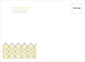 Yellow Ikat Pattern Custom Envelope