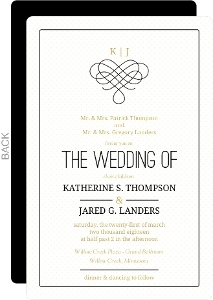 Gold Black Intertwining Heart Wedding Invitation