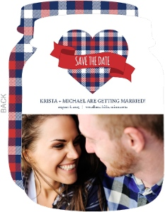 Whimsical Plaid Heart Save The Date Announcement