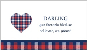 Whimsical Plaid Heart Address Label