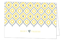 Yellow Ikat Pattern Wedding Thank You Card