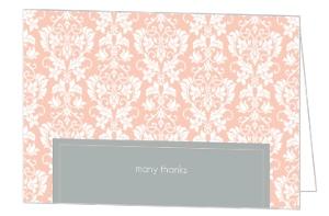Peach and Grey Damask Wedding Thank You Card