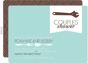 Utensil and Tools Blue and White Couples Shower Invitation