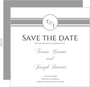 Classic White with Grey Stripe Save The Date Card
