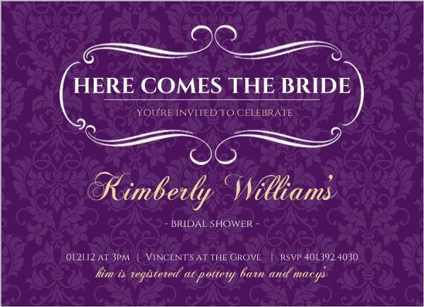 royal purple and gold bridal shower invitation - Purple And Gold Wedding Invitations