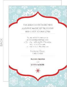 Blue and White Holiday Wedding Invitation