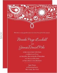 White and Red Flourish Holiday Wedding Invitation