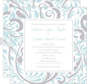 Silver and Blue Swirls Wedding Invitation
