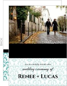 Turquoise Damask with Photo Wedding Invitation