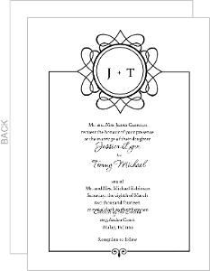 Black Circle Monogram Wedding Invitation
