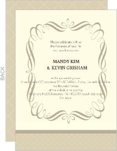 Romantic Cream and Brown Wedding Invitation
