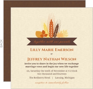 Rustic Fall Wheat and Leaf Bouquet Wedding Invitation