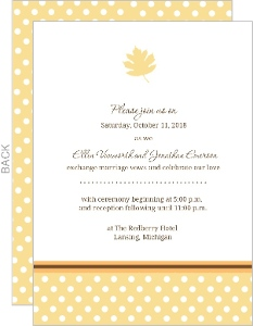 Polka Dot Orange and Brown Fall Leaves Wedding Invitation