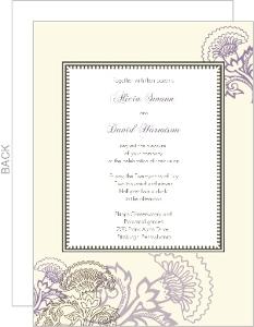 Vintage Purple Floral Wedding Invitation