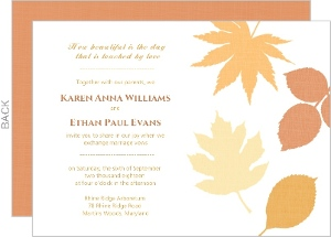 Multi Colored Fall Leaves Wedding Invitations