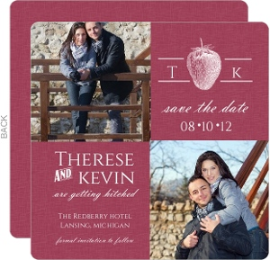 Rustic Woodcut Berry and White Save The Date