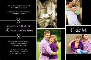 Modern Black Photo Wedding Invitation