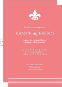 Coral Formal Fleur De Lis Wedding Invitation
