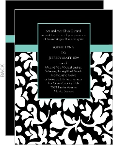 Elegant Black White and Aqua Wedding Invitation